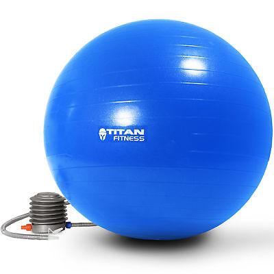 Titan Fitness Exercise Stability Ball Blue 55cm Yoga Pilates Anti Burst w/ Pump
