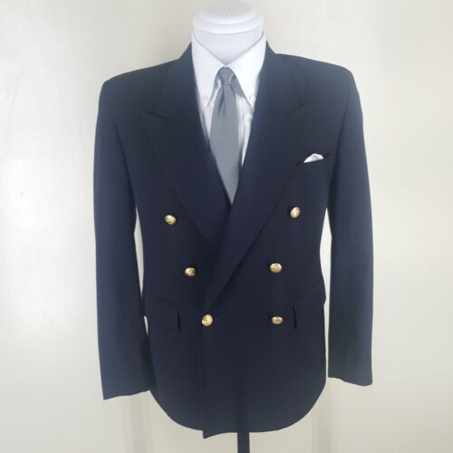 BOYS  Barneys NY Vintage  Made In U.S.A. Double Breasted Blue Blazer    17 Husky