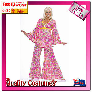 Womens Retro 60s 70s Hippie Flower Power Abba Pink Floral Woodstock Costume