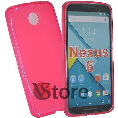 Case Cover for Motorola Nexus 6 Gel Silicone TPU Fuchsia+Film