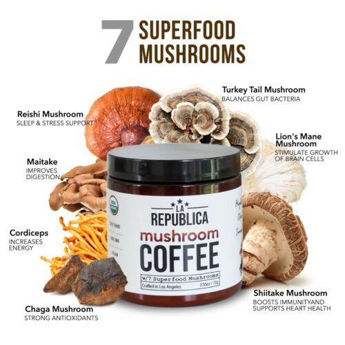 La Republica Organic Mushroom Coffee w 7 Superfood Mushrooms (immunity up chaga)