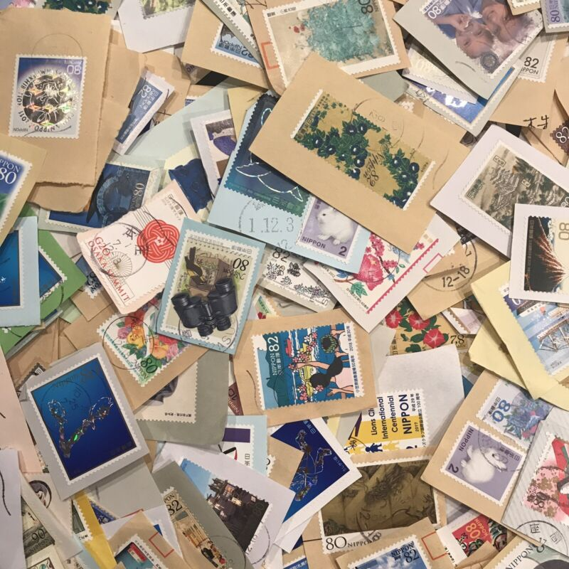 1000g (2lbs+) All Large Japan Commemorative Stamps on-paper Kiloware Bargain CV$