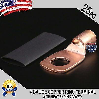 25 Pcs 4 Awg 4 Ga Copper Ring Terminals Heat Shrink 38 Stud Hole Lug Connector
