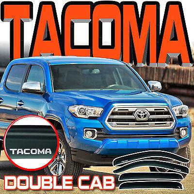 Cab Sun Visors - 2016-2018 Tacoma Crew Double Cab Window Rain Visors Sun Deflector Vent with Logo