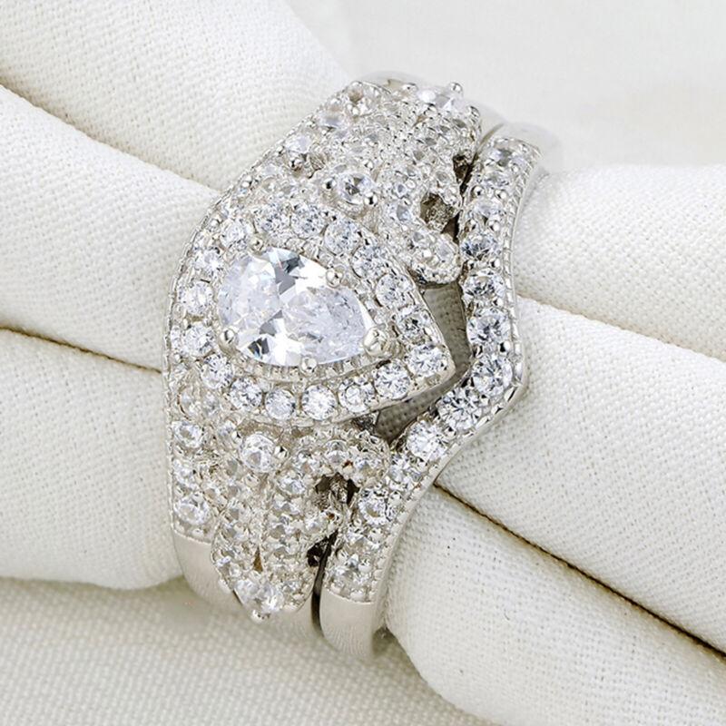 Newshe Wedding Engagement Ring Set Women 925 Sterling Silver Pear White Cz 5-12