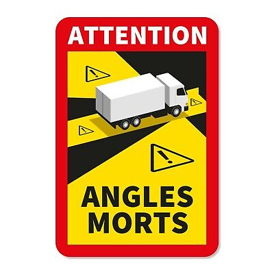 5 X Truck Autocollants Stickers Sign Danger Angles Morts Blind Angle - UV6089