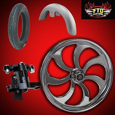 "Harley 30 inch Front End Big Wheel kit, Wheel, Tire, Neck, Fender, "" Ripper"""