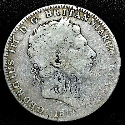 1819 LX GREAT BRITAIN GEORGE III CROWN SILVER COIN KM # 675 - WITH MONO -RARE.