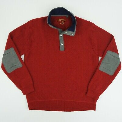 ORVIS Mens Large Red 1/4 Snap Front Wool Pullover Sweater Elbow Patches EUC