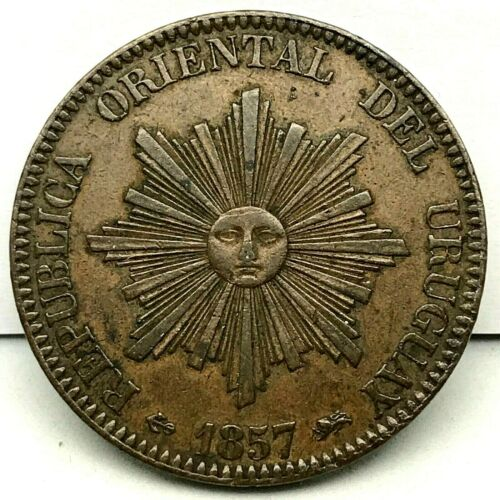 URUGUAY- 1857D- 20 CENTESIMOS COPPER COIN-  KM #9  RARE!!!