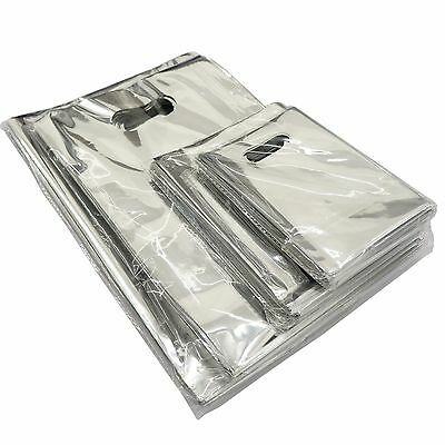 Wholesale Lot Of Silver Metallic Retail Shopping Bags Merchandise Bags 4 Sizes