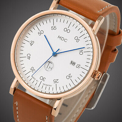 MDC Mens Quartz Watch White Dail Aolly Case 3 Hands For Adults Date Formal