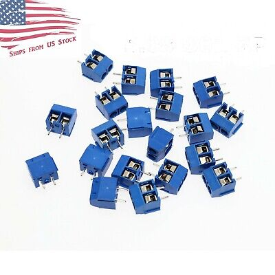 100 Pcs 2-Pin Screw Terminal Block Connector 5.08mm Pitch PCB Mount Blue 100X US