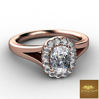 Halo Split Shank French U Pave Cushion Diamond Engagement Ring GIA G VS1 0.7 Ct 9