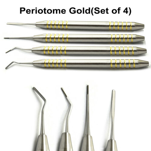 Set of 4 Periotome Gold Dental Periodontal Ligament Atraumatic Extraction Sinus