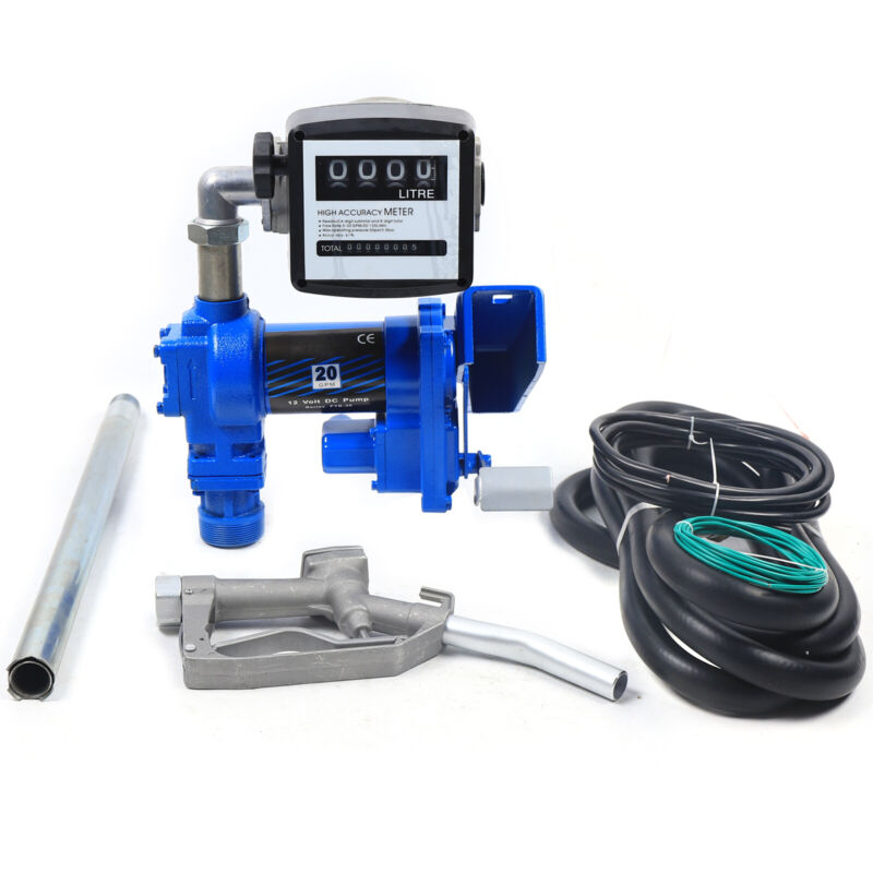 12V Anti-Explosive Diesel Gasolin Fuel Transfer Pump w/ Nozzle Meter 20 GPM