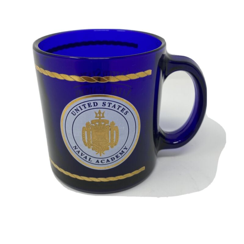 United States Naval Academy Blue Colored Glass Mug Cup Gold Trim and Logo