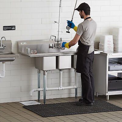 58 3-compartment Stainless Steel Commercial Pot Pan Sink With Two Drainboards