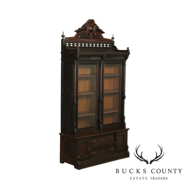 Antique Victorian Walnut Tall 2 Door Bookcase