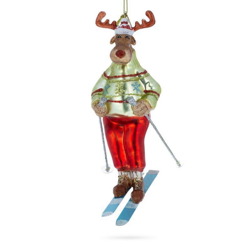 Reindeer Skiing Glass Christmas Ornament
