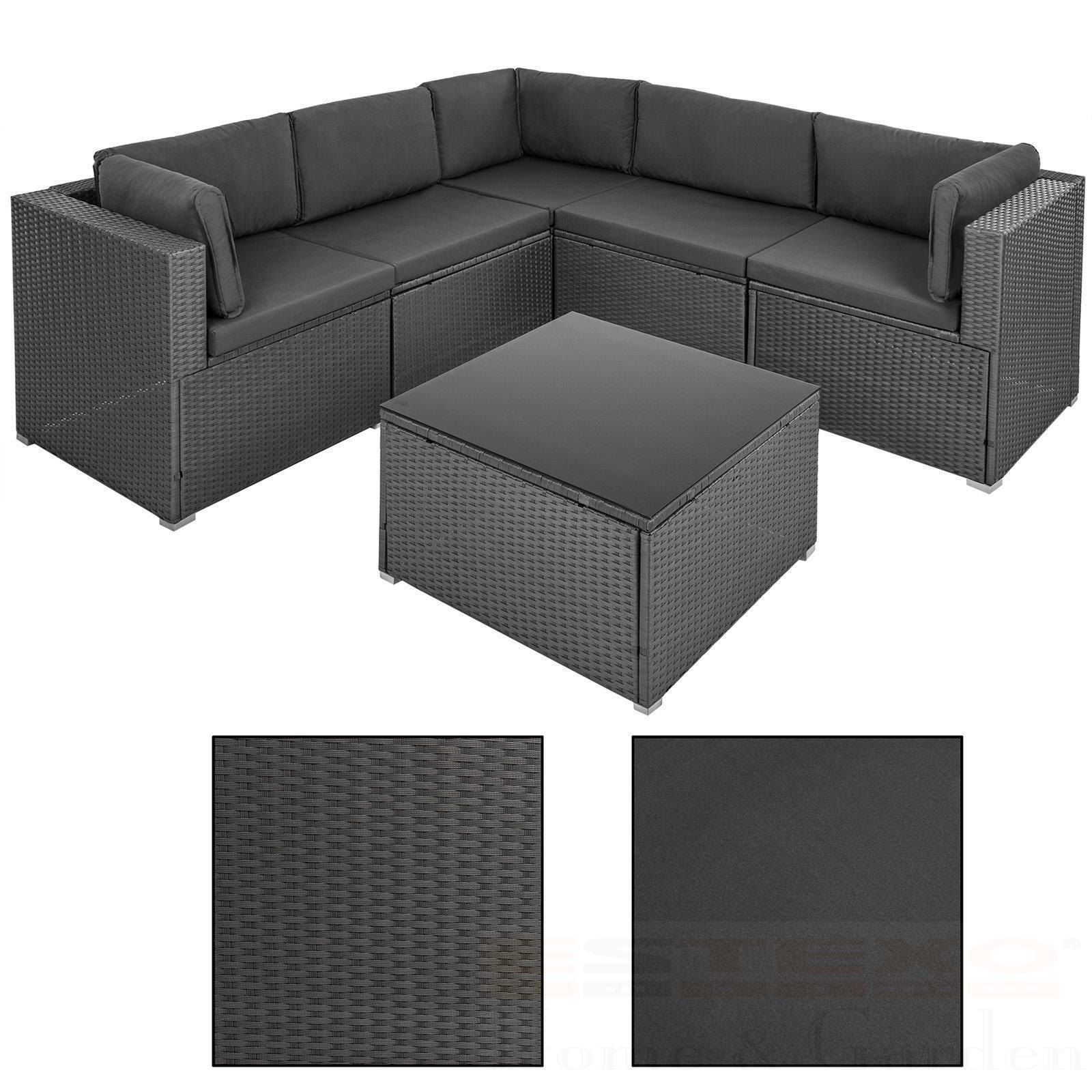 Luxus Polyrattan Lounge Set Grau Anhrazit Garnitur Gartenmöbel Sitzgruppe  Rattan