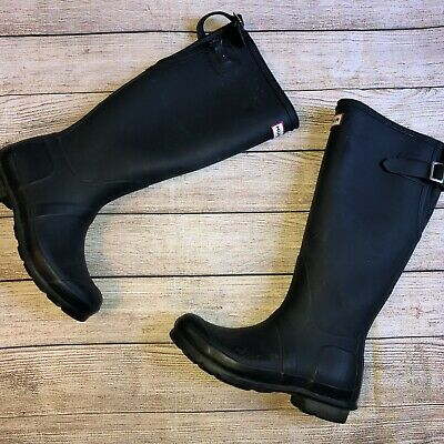 Hunter Boots Navy Matte Tall 8 Broken Strap