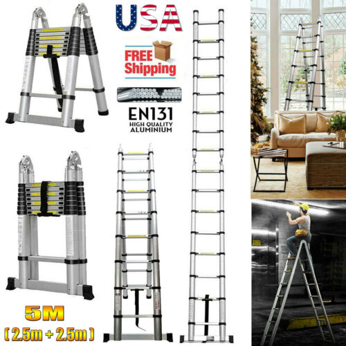 Aluminum Telescopic 16 Steps Ladder 16.5FT/5M A-Type Frame F
