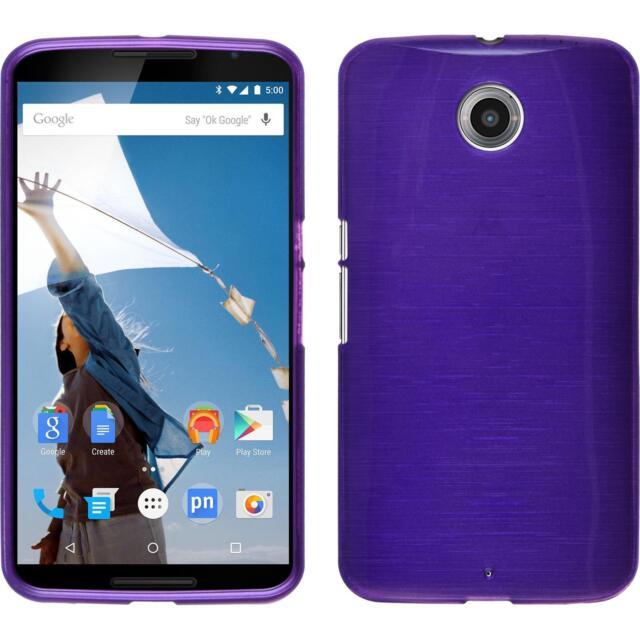 Silicone Case Google Nexus 6 - brushed purple + protective foils