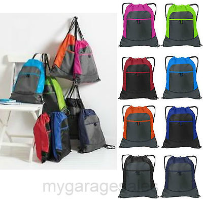 Colorblock Drawstring Backpack Cinch Sack Tote Gym Bag Sport Pack - Drawstring Sports Bag