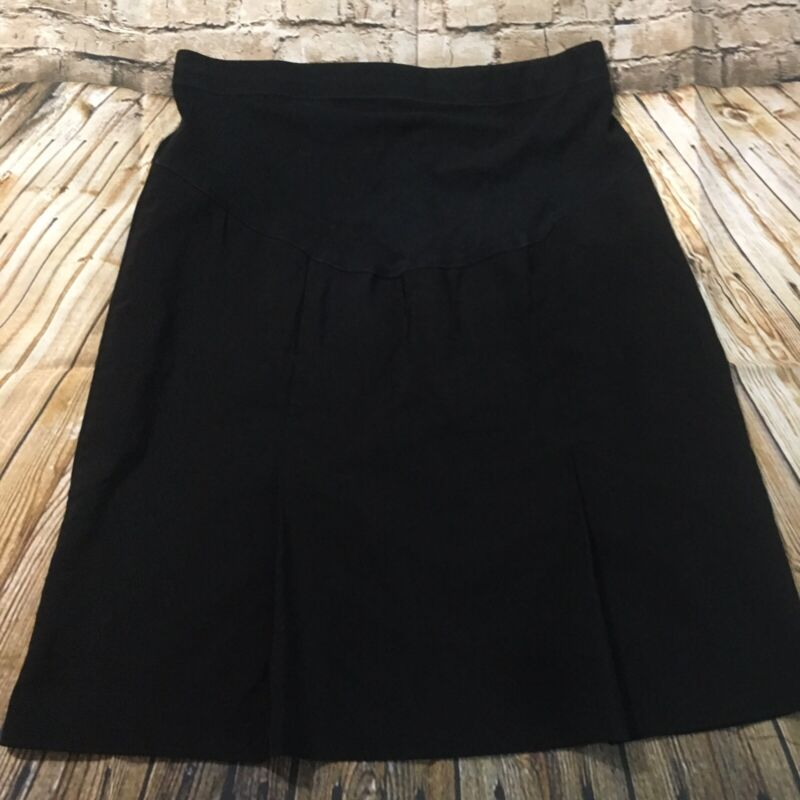 Motherhood Maternity Medium Black Pleated A Lined Belly Band Stretch Skirt G20