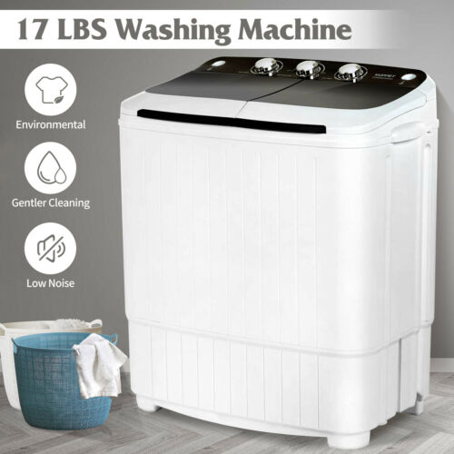 Washing Machine 17LBS Twin Tub Spiner Dryer Compact Portable