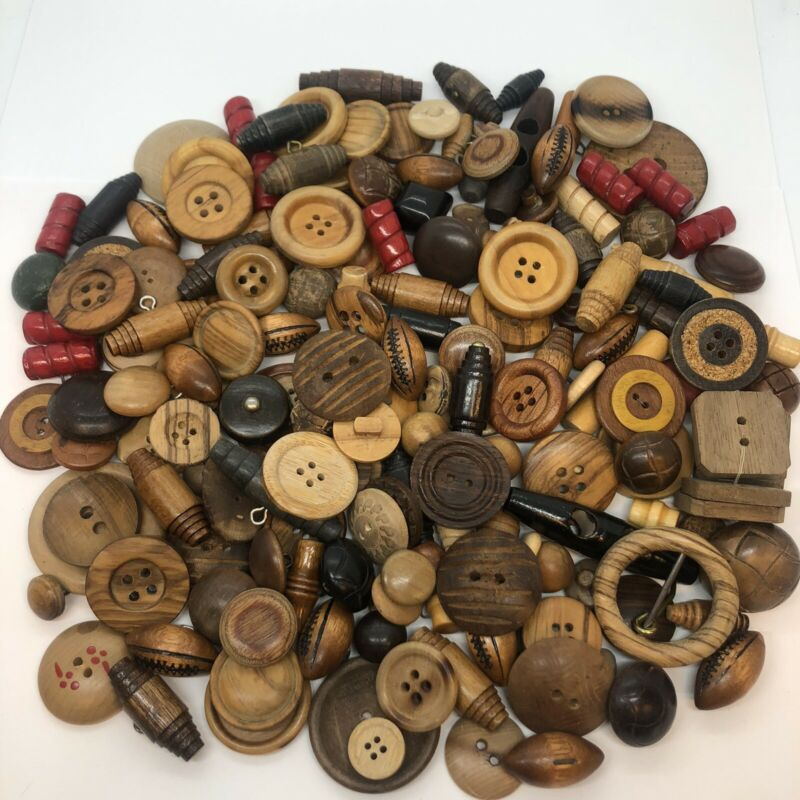Vintage WOOD Button Lot Carved Painted Matching Sets Replacement