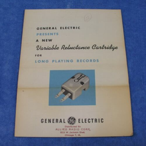 Rare GE Variable Reluctance RPX-041 Phono Cartridge Advertising Brochure Sheet