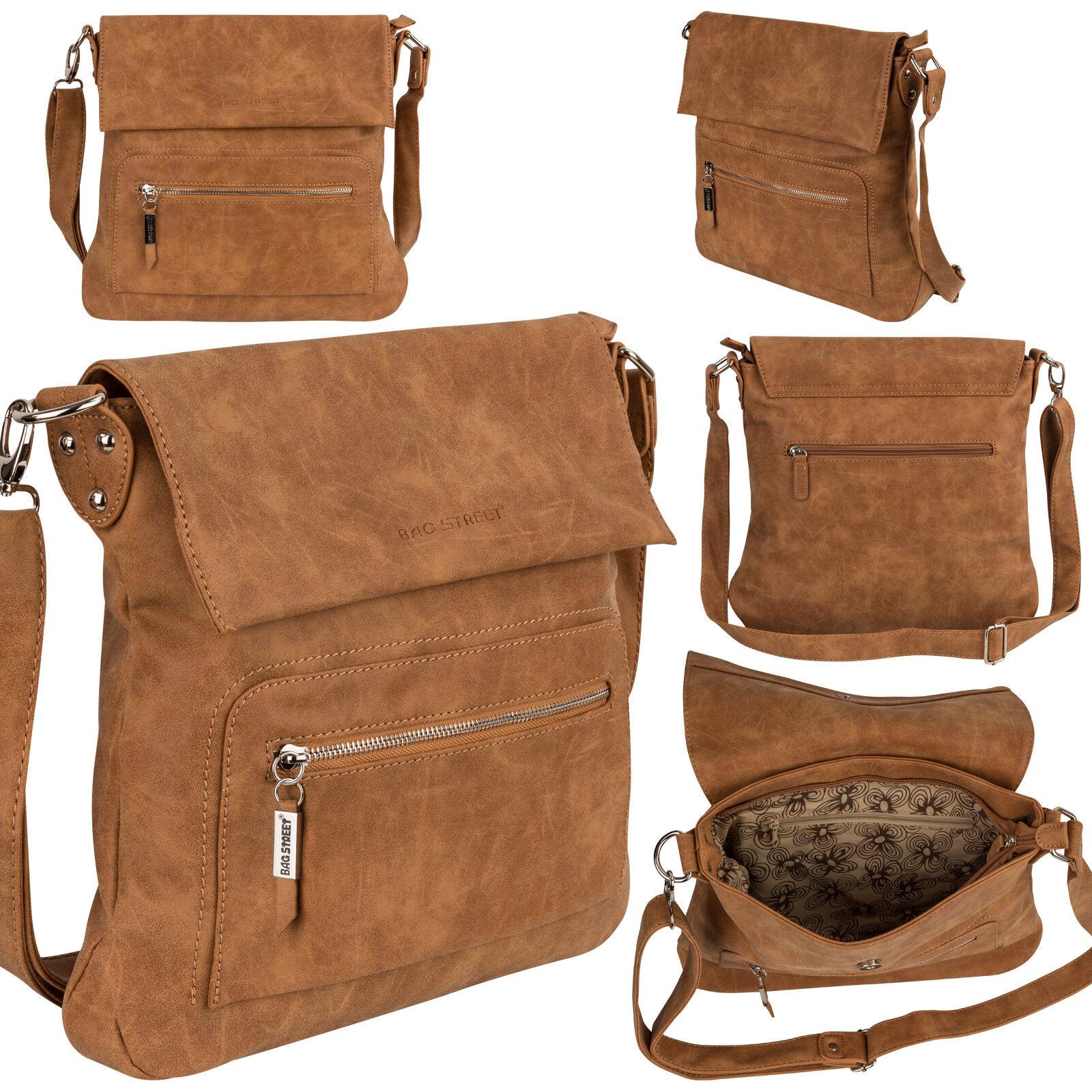 Bag Street Damentasche Umhängetasche Handtasche Schultertasche K2 T0103 Cognac