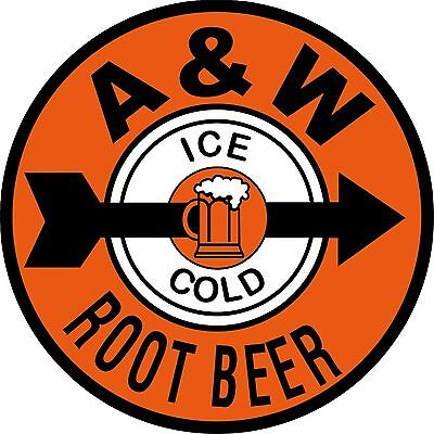 """8"""" A & W Root Beer Reproduction Ad New Aluminum Metal Sign"""