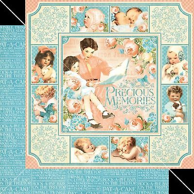 6 Graphic Designs - GRAPHIC 45 PRECIOUS MEMORIES SINGLE  PAPERS, 2 sheets 6 DESIGNS