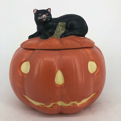 Sakura David Carter Brown Ceramic Pumpkin Hallow Cookie Jar with Black Cat Lid