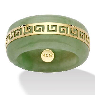 14k Green Ring - Genuine Green Jade 14k Yellow Gold