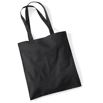 25 Colours Reusable eco Shopping tote Bag For Life LONG HANDLE 100% Cotton,Black