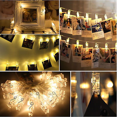 20 LED Card Photo Clip String Fairy Lights Battery Christmas Party Wedding light
