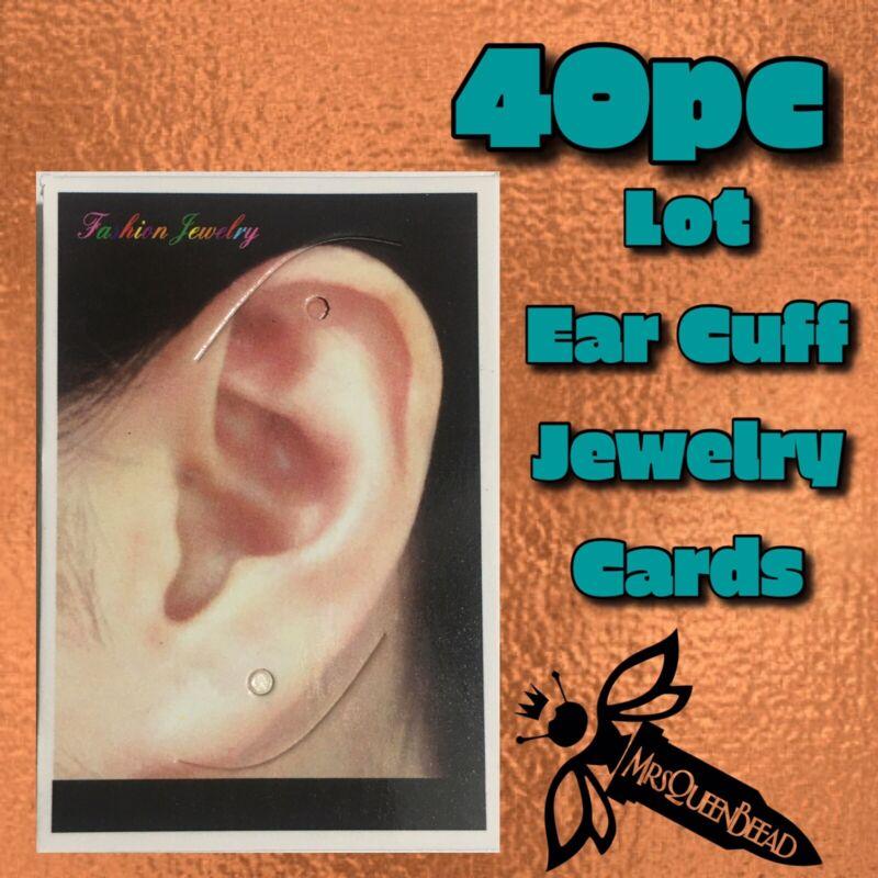 """40pc Jewelry Display Cards Lot Ear Cuff Wrap 1 Ear 2 Holes Earrings 👑🐝 2""""x3"""""""