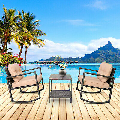 3PC Patio Furniture Wicker Rattan Bistro Set Rocking Chair Set 6085-RC03-BK Rattan Set Chair