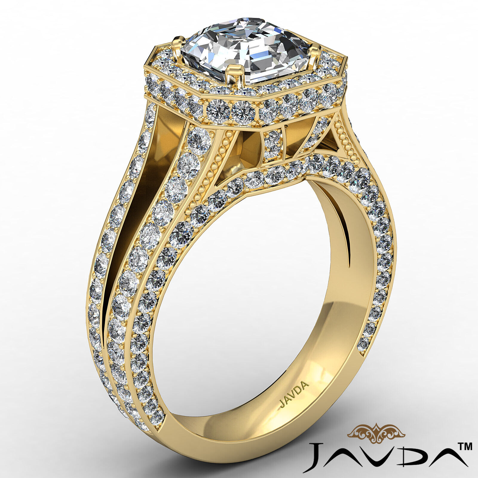 Halo Asscher Diamond Engagement Ring GIA Certified G Color & SI2 clarity 2.4 ctw 4