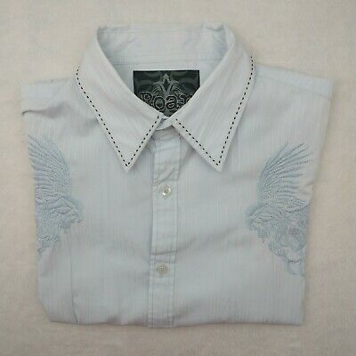 Roar Men's Medium Blue Challenge Embroidered Short Sleeve Shirt Wings Button Up