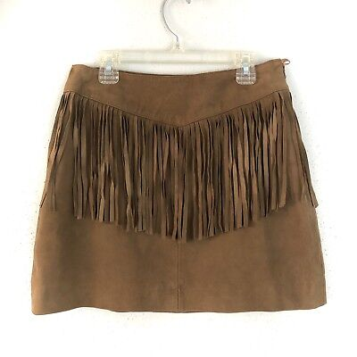Walter Baker Leather Skirt Size 0 Riley Brown Suede Fringe Mini WB4235 $398