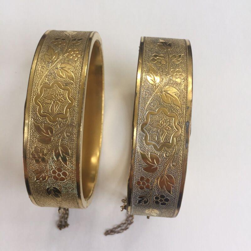 Vintage gold filled bangle bracelets A Pair
