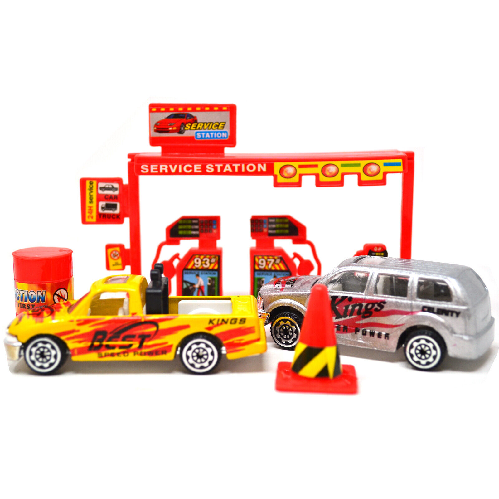 64PC FIRE RESCUE TRACK KIDS FUN METAL CARS GIFT TOY DIY GARAGE SET RACE XMAS NEW