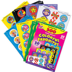 300 Colourful Favorites Scratch n Sniff Smelly Reward Stickers Variety Pack