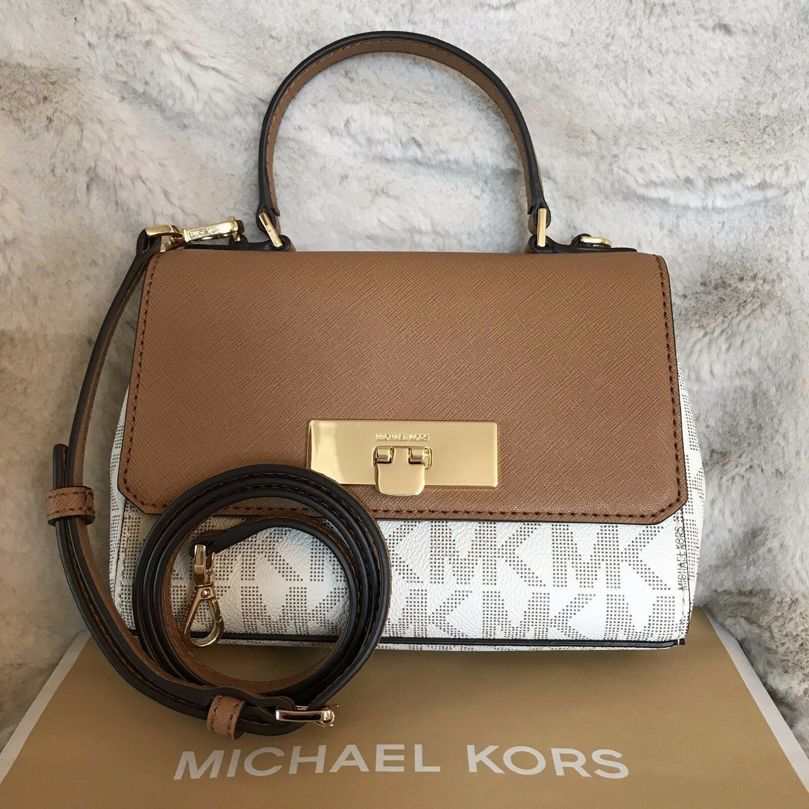 Michael Kors - NWT MICHAEL KORS SIGNATURE CALLIE FLAP XS CROSSBODY BAG IN VANILLA/ACORN