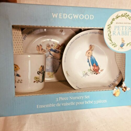 Wedgewood NIB Beatrix Potter Peter Rabbit 3 Piece Nursery Set Place Setting Boy